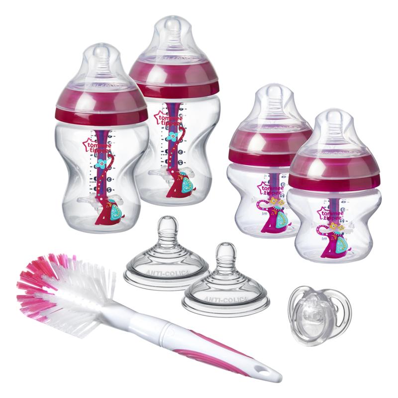 TOMMEE TIPPEE - Sada dojčenských fľaštičiek C2N ANTI-COLIC s kefou Pink