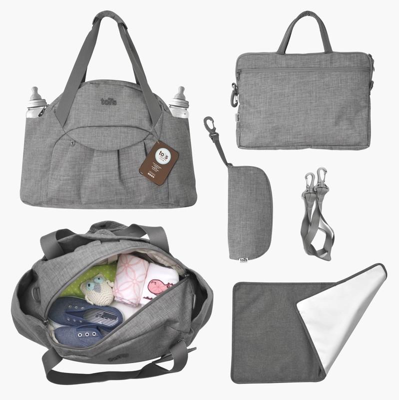 TOTS - Prebaľovacia taška Voyage, dark grey melange