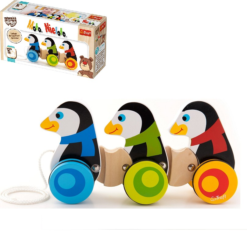 TREFL - Drevená ťahacia hračka tučniaci