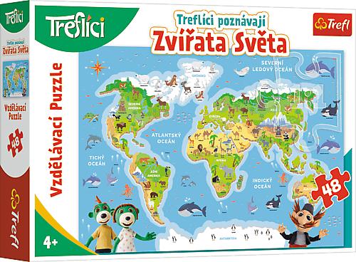 TREFL - Vzdelávacie puzzle 48 dielikov - Treflíci spoznávajú zvieratá sveta CZ / Trefl