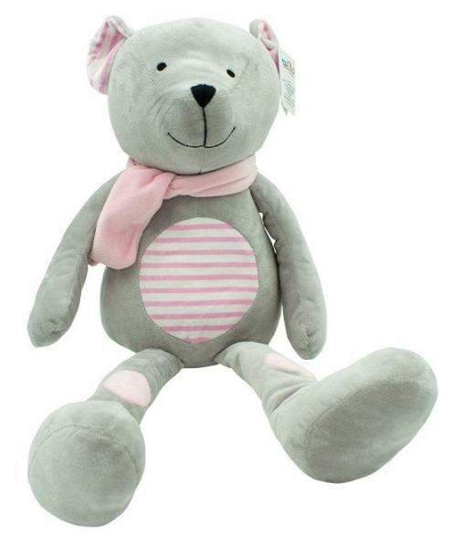 TULILO - Plyšová hračka túlil Medvedík Erik, 33 cm - rúžový s prúžkami