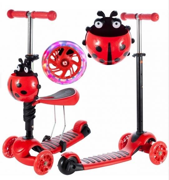TULIMI - Detská kolobežka 2v1 Ladybird, červená