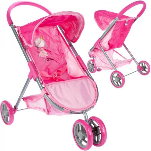 TULIMI - Športový kočík pre bábiky Princezná - ružový