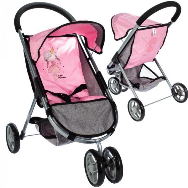 TULIMI - Športový kočík pre bábiky Princezná - ružový, sivý