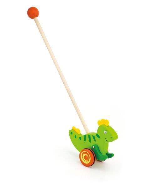 VIGA - Drevená ťahačka na tyči Dinosaurus