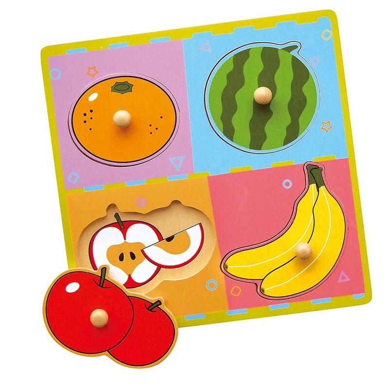 VIGA - Drevená vkladačka ovocie 4ks