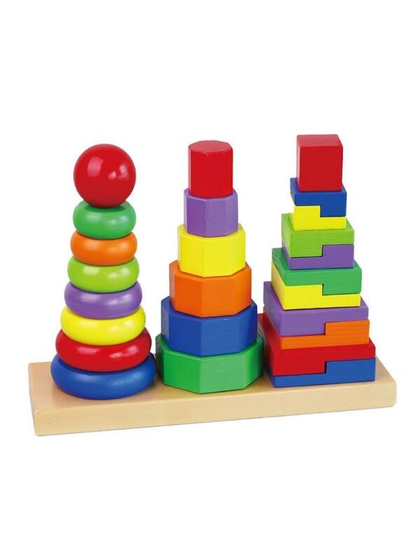 VIGA - Drevené farebné pyramidy pre deti Viga