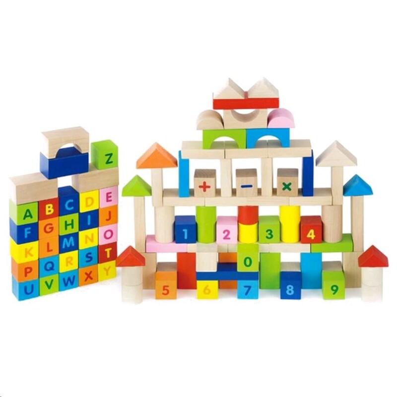 VIGA - Drevené kocky pre deti Viga Písmenka a čísla 100 dielov