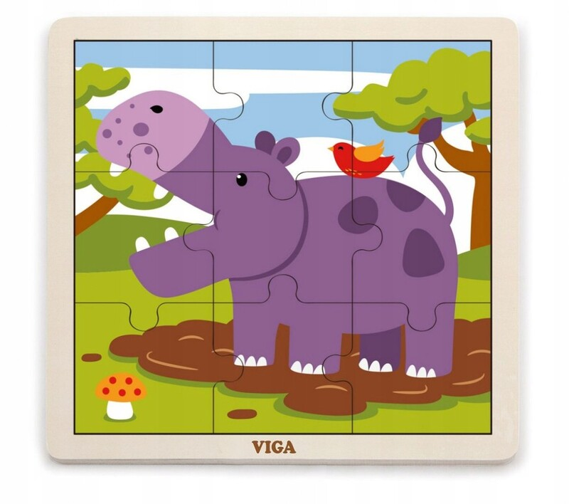 VIGA - Drevené puzzle hroch 9ks