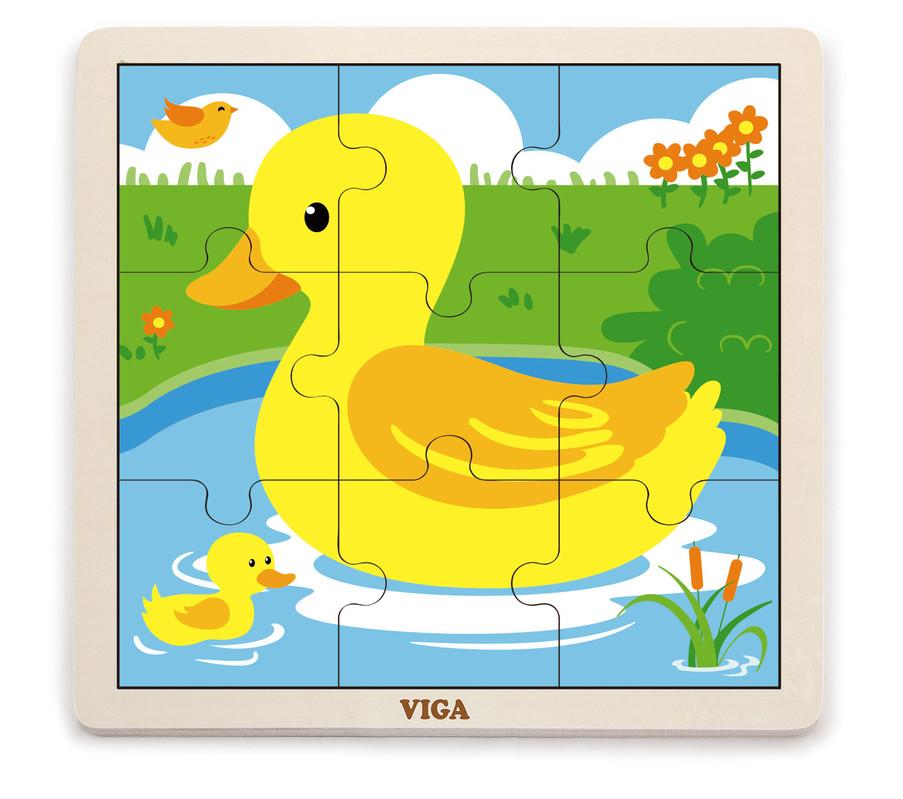 VIGA - Drevené puzzle kačička 9ks