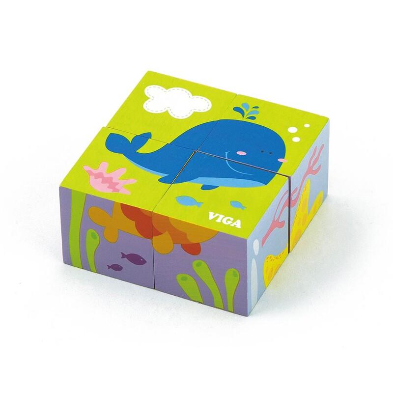 VIGA - Drevené puzzle kocky pre najmenších Viga Veľryba