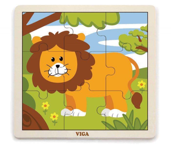 VIGA - Drevené puzzle lev 9ks