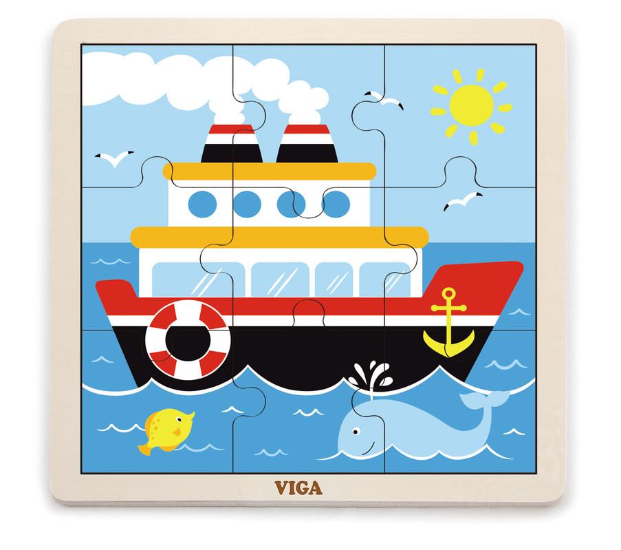 VIGA - Drevené puzzle loď 9ks