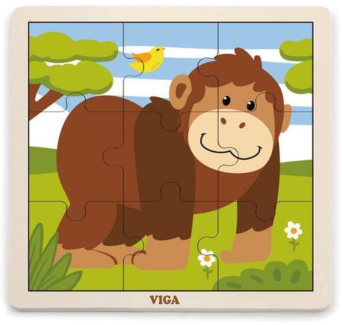 VIGA - Drevené puzzle opica 9ks