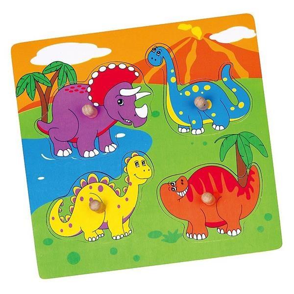 VIGA - Drevené puzzle s úchytmi pre najmenších Viga Dino