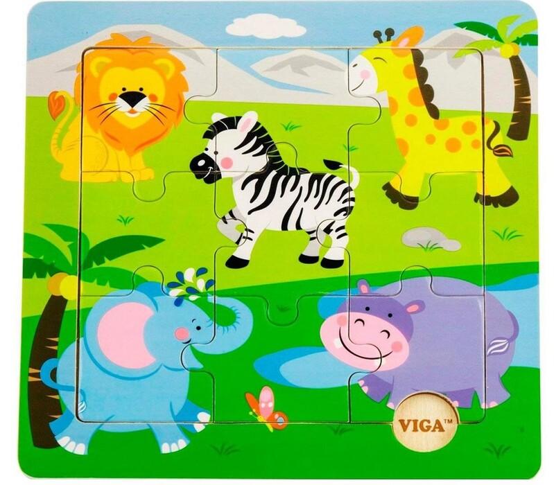 VIGA - Drevené puzzle safari 9ks