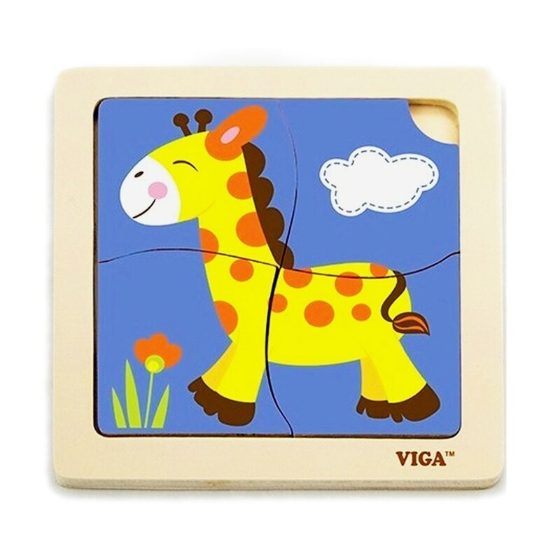 VIGA - Drevené puzzle žirafa 4ks