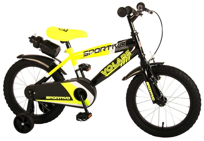 """VOLARE - Detský bicykel pre chlapcov Sportivo Neon Yellow Black 16""""- zložený na 95 %"""