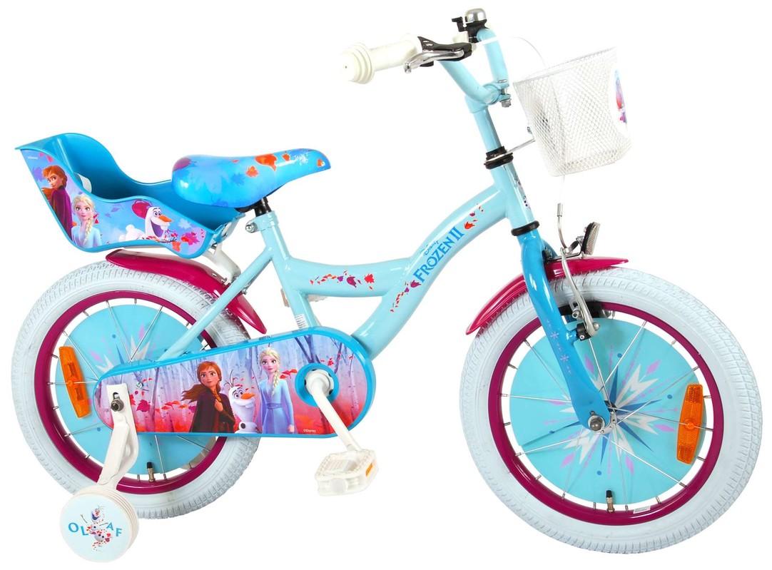 """VOLARE - Detský bicykel pre dievčatá FROZEN II - modrý-ružový, 16"""" - zložený na 95 %"""