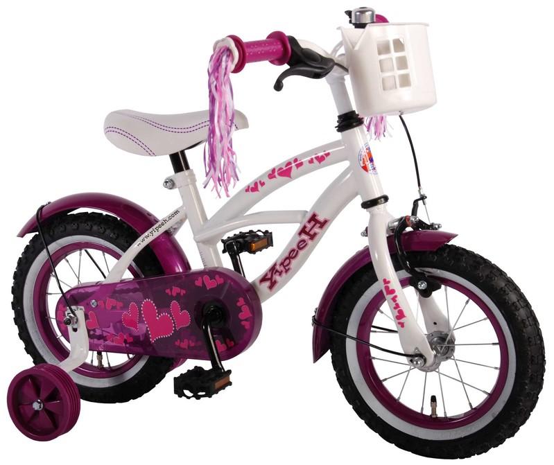 VOLARE - Detský bicykel pre dievčatá Heart Cruiser - biely/fialový, 12