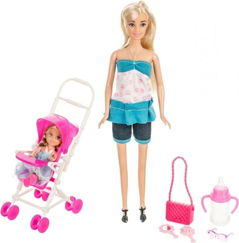 WIKY - Bábika Anlily s bábätkom 30cm - modrá