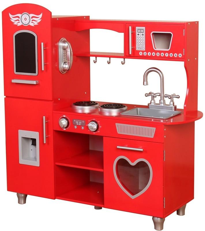 WIKY - Drevená kuchynka červená 84x31x89 cm