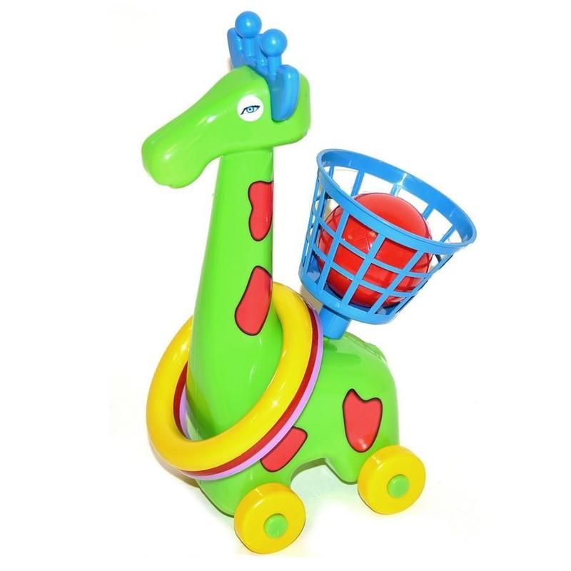 WIKY - Žirafa na kolieskách s krúžkami a košíkom - žltá