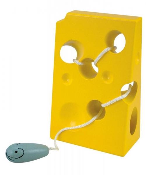 WOODY - Detská drevená hračka Myška so syrom - žltá