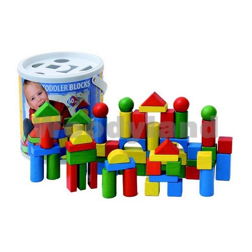WOODY - Drevené kocky vo vedierku 60 ks