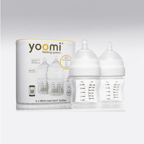 YOOMI - 140 ml dojčenská fľaša 2x (bez ohrievača) + cumlík s pomalým  prietokom d705a0eaa3a