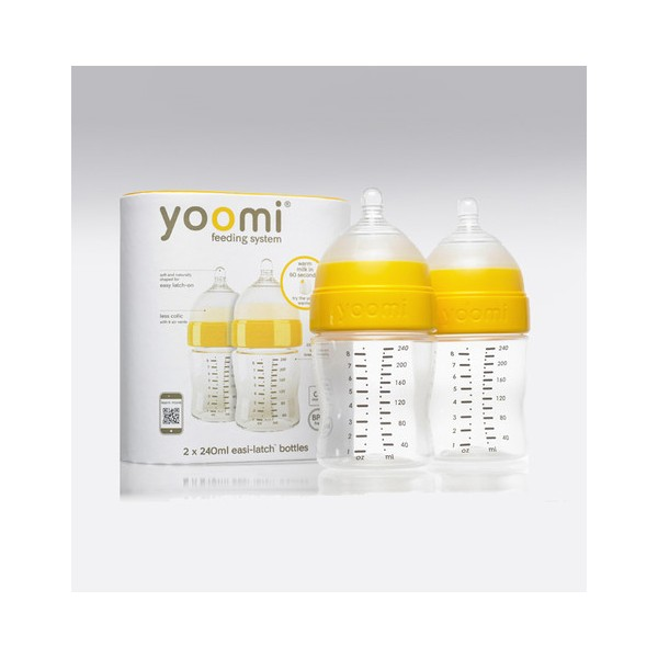 YOOMI - 240 ml dojčenská fľaša 2x (bez ohrievača) + cumlík s pomalým prietokom